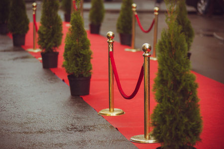 elegant staircase: red carpet - is traditionally used to mark the route taken by heads of state on ceremonial and formal occasions Stock Photo