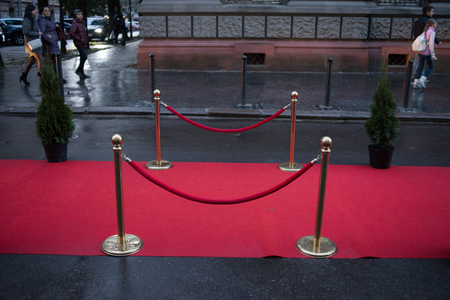 Red carpet - is traditionally used to mark the route taken by heads of state on ceremonial and formal occasions Stock fotó - 87922693