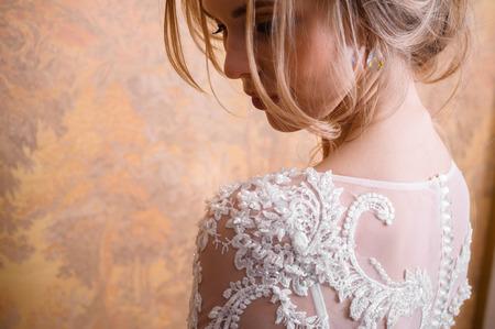 Portrait of beautiful bride in wedding dress Banco de Imagens