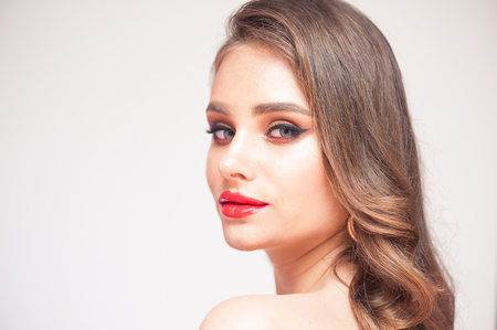 Beauty Makeup. Woman With Beautiful Face And Pink Lips. Sexy Smoothed Beauty Make Up, Soft Smooth Skin And Full Pink Lips.