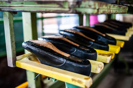 Production of shoes at the factory 版權商用圖片