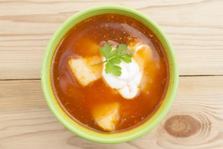 Red beet soup (borscht). Stock Photo