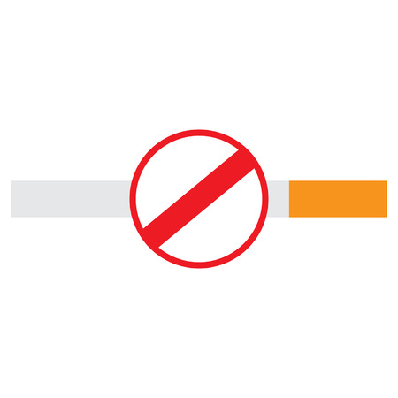 pernicious habit: No smoking sign on a cigarette, isolated on white background. Illustration