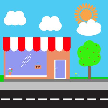 sidewalk cafe: Shopping center. Vector illustration.