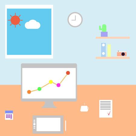 freelancer: Workplace freelancer. Vector illustration.