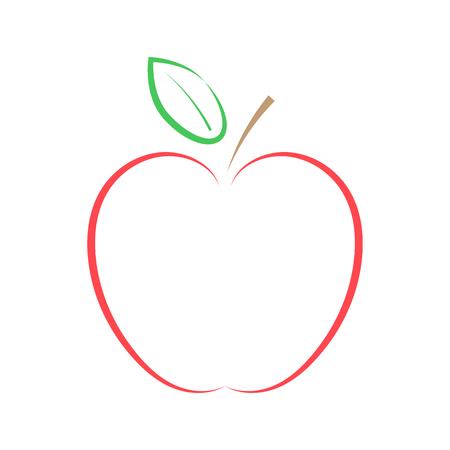 Roter Apfel auf weißem Hintergrund. Vektor-Illustration.
