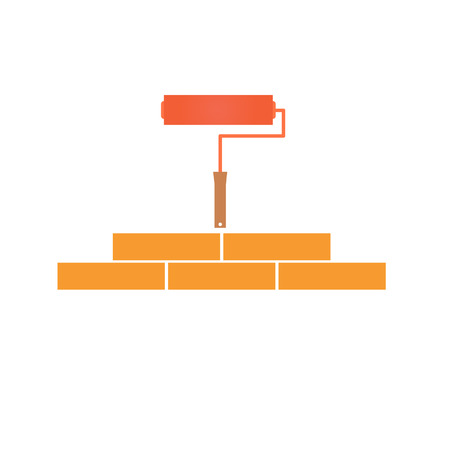 bricklaying: Paint roller and bricklaying. Concept of construction.