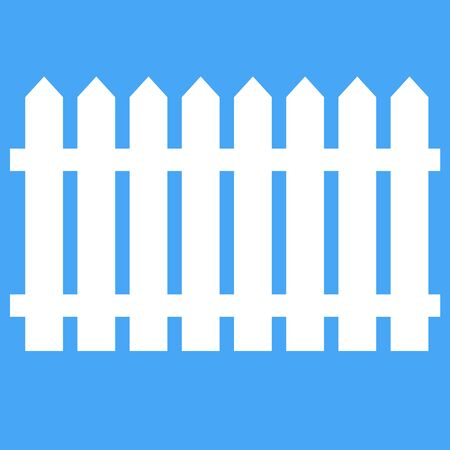 Icon fence on a blue background. Vector illustration. Vector