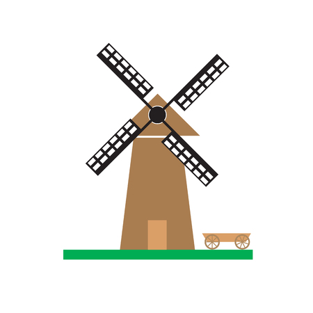 Windmill on the green meadow vector illustration. Vector