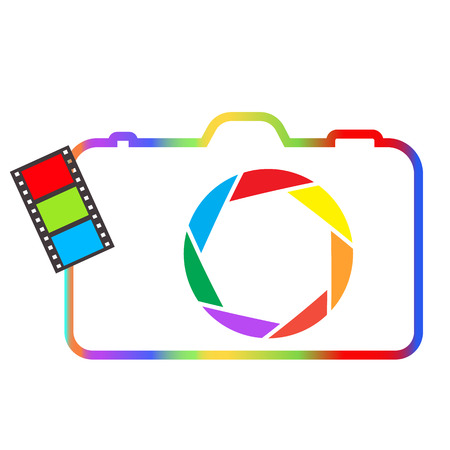 Abstract colorful camera on a white background. Vector
