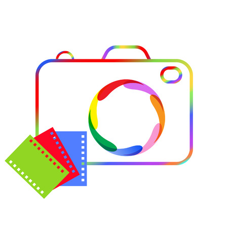 camera film: Abstract image of a digital camera and film for your design project. Illustration
