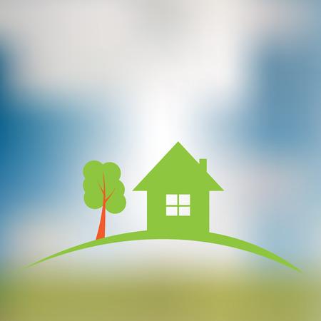 construction logo: Real estate construction logo on blurred background. Illustration