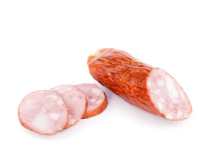 meaty: Salami isolated on white background.