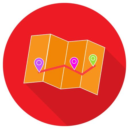 directions icon: Pin on the map. Vector illustration.