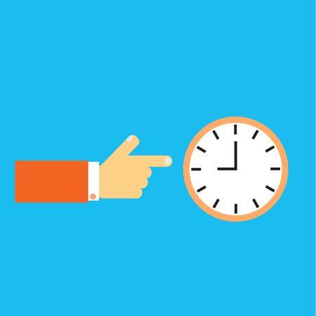 punctuality: Mano que muestra en el reloj.