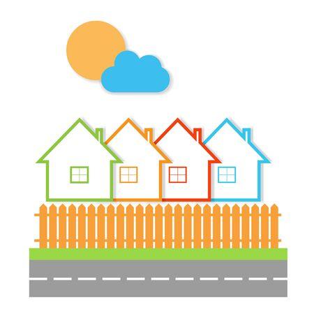 villas: Real Estate. Sale of property. Vector illustration.