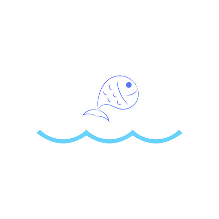 pez saltando: Fish jumping over waves. Vector illustration. Vectores