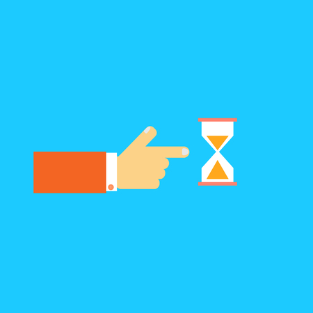 periods: Mens hand pointing to the hourglass. Vector illustration.