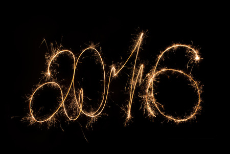 sparklers: Happy New Year 2016 inscription sparklers.