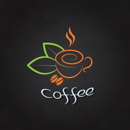 Coffee cup with beans and green leaves on a chalkboard. Vetores