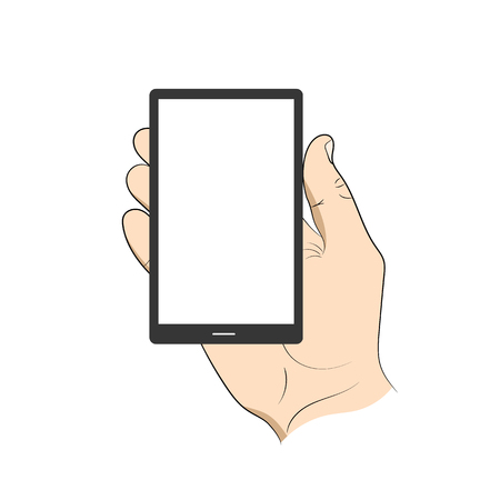 smartphone hand: Smartphone in hand man. Illustration