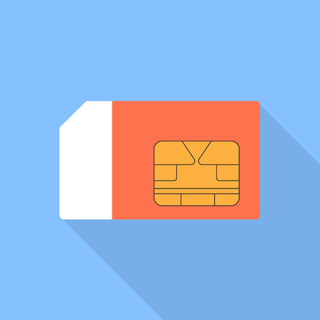 Sim card illustration of a flat design.