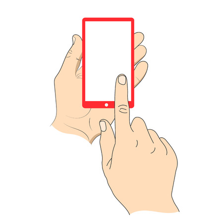 smartphone hand: Hand touching smartphone with blank white screen.