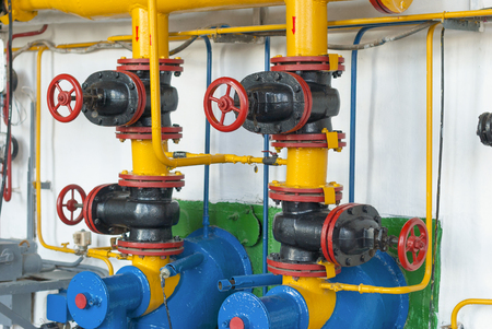 gas supply: Valves of gas supply to industrial boilers steam boiler. Stock Photo