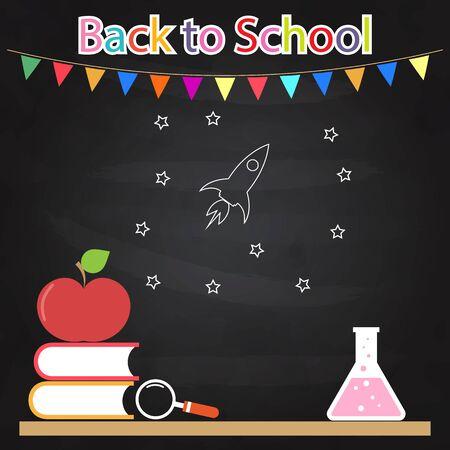 school table: Back to school. Table books apple bulb drawing on blackboard.