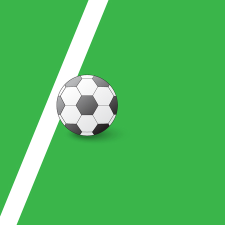 kick out: Soccer ball on the field next to the white line. Illustration