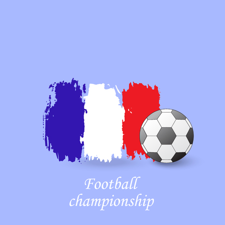 publicity: Soccer ball and the flag of France. Football championship. Vector illustration.