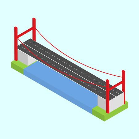 bridge over water: The bridge over the river 3d isometric