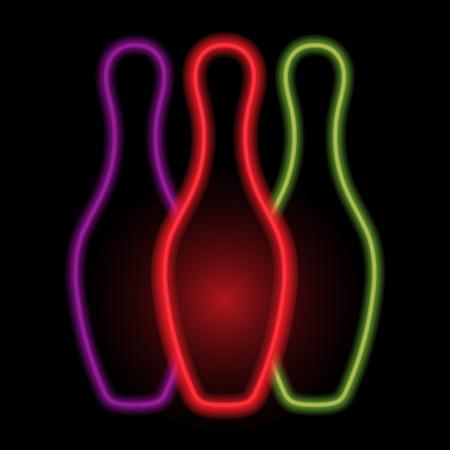 skittles: Skittles for bowling neon lights. Vector illustration .