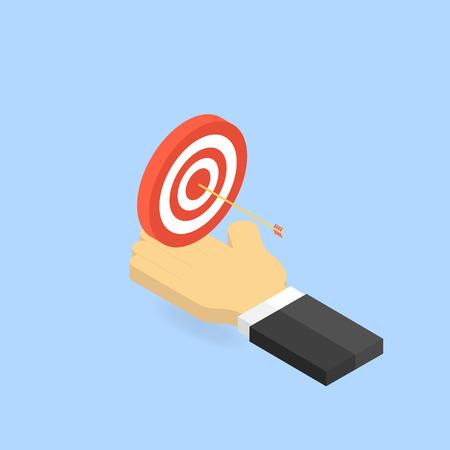 ターゲットと手実業家の矢印。ビジネスでの成功のコンセプトです。