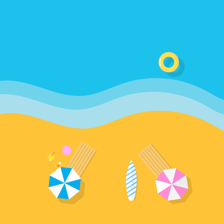 caribbean cruise: umbrellas on the beach and float in the sea Illustration