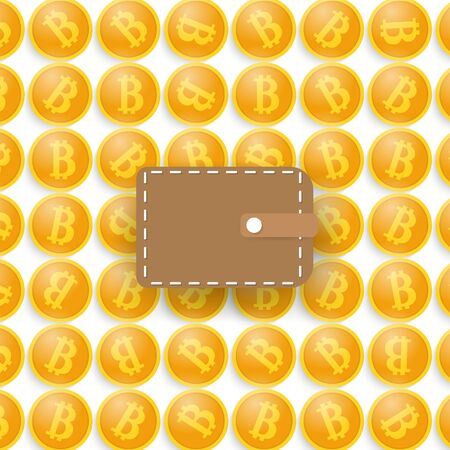 electronic commerce: Bitcoins and a purse. Vector illustration . Illustration