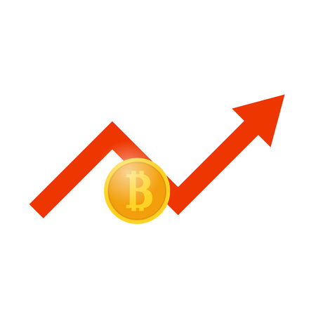 electronic commerce: Bitcoin and profit growth schedule. Vector illustration . Illustration