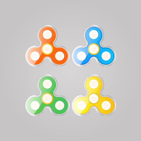 relieve: Toy spinner set colored to relieve stress. Vector illustration .