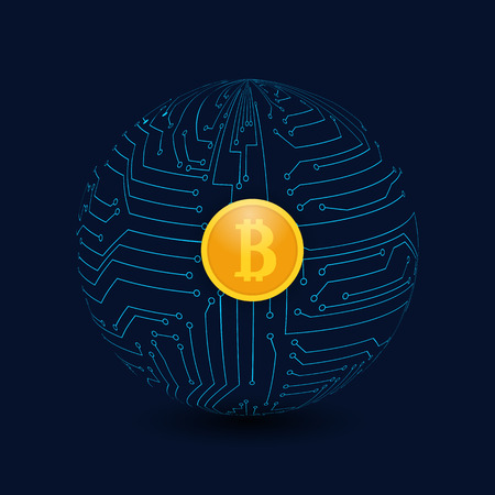 Circle from the motherboard and bitcoin coins on a dark background. Global business. Vector illustration .