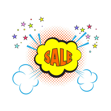 comedian: Comic sale explosion pop art style. Vector illustration .