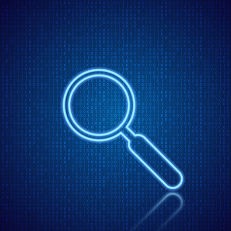 Magnifying glass on a digital abstract background. Vector illustration . Иллюстрация