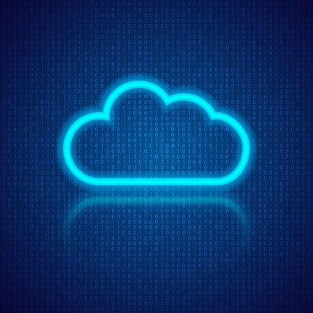 Cloud computing on an abstract digital background. Vector illustration .