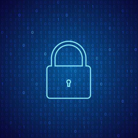 デジタル背景のロック。サイバーセキュリティの概念。ベクトルイラストレーション.
