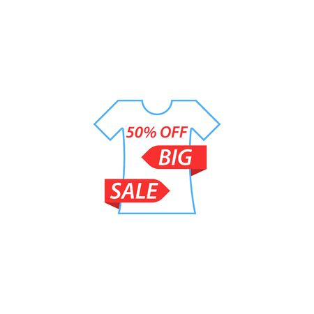 50% off big sale T-shirt design template illustration. Иллюстрация