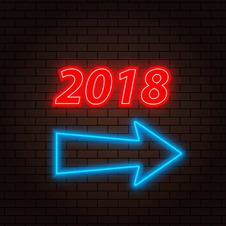 2018 neon sign and arrow on a brick illustration. Иллюстрация