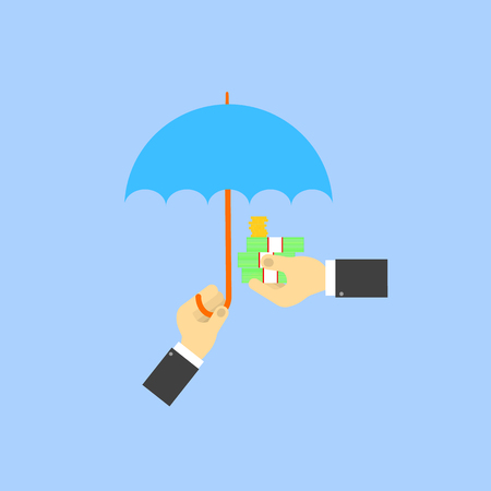 Businessman umbrella covers the money of another businessman. The concept of saving money. Vector illustration . Иллюстрация