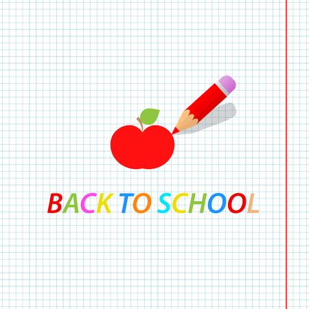 鉛筆は、リンゴを描画します。学校に戻るベクトルの図。