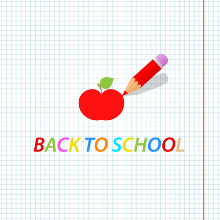 Pencil draws an apple. Back to school. Vector illustration .
