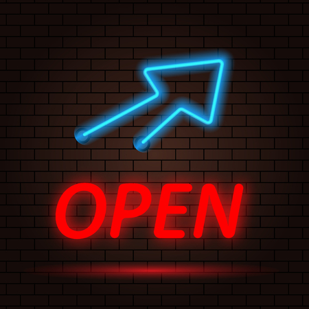 Open neon sign and arrow on brick wall background. Vector illustration .
