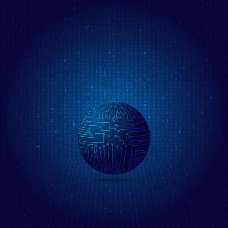 The globe in the motherboard. The concept of a global network. Vector illustration . Illustration